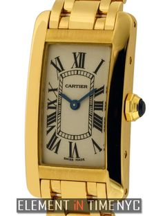 Cartier Tank Americaine Ladies 19mm iN 18K Yellow Gold With A Silver Roman Dial (W26015K2)
