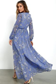 Wondrous Water Lilies Periwinkle Blue Paisley Print Maxi Dress at Lulus.com!