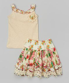 Another great find on #zulily! Marigold Vintage Floral Skirt & Tank - Girls by Free Planet #zulilyfinds
