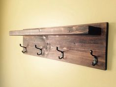 Rustic Style Coat Rack - Oil Rubbed Bronze 4 hook - Dark Walnut - Custom Finish Avail. by GnHWoodCrafters on Etsy https://www.etsy.com/listing/233445119/rustic-style-coat-rack-oil-rubbed-bronze