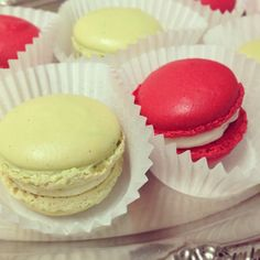 red & green macarons: pistachio and strawberry cream ...
