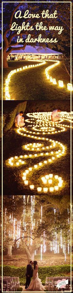 Outdoor lighting can be so romantic! Such a great way to add to the mood of a ceremony or reception! Visit our blog for 15 Fresh Outdoor Wedding Ideas