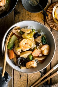 Chukadon is a Chinese-style rice bowl dish made of stir-fried seafood, meat, and vegetables. Cooked in a soy-infused sauce, it has all the flavors of your favorite take-out! #chukadon #stirfry #ricebowl | Easy Japanese Recipes at JustOneCookbook.com