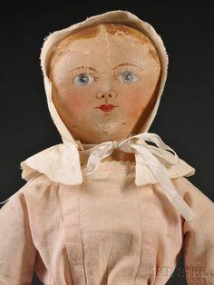 20: Maggie Bessie Painted Cloth Doll, Salem, North Caro Bonnet: Lot 20
