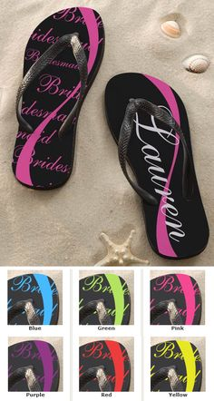 These would be such a great Bridesmaid Gift Idea! They're the Personalized Wedding Party Flip Flops from PMall. These would be especially perfect for a beach wedding! They come in 6 colors and you can personalize them with your family and friends' names and their wedding title! #Wedding #Bridesmaid #FlipFlop