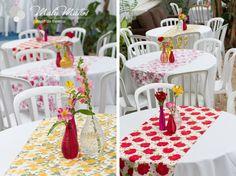 #decoração #mesa #aniversário #tecido #floral