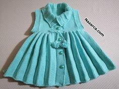 AKORDİYON PİLELİ KOLSUZ 1-2 YAŞ ÖRGÜ ELBİSESİ | Nazarca.com Beginner Crochet Projects, Crochet For Beginners, Crochet For Kids, Crochet Baby, Knit Crochet, Knit Baby Dress, Baby Cardigan, Baby Sweater Patterns, Baby Knitting Patterns