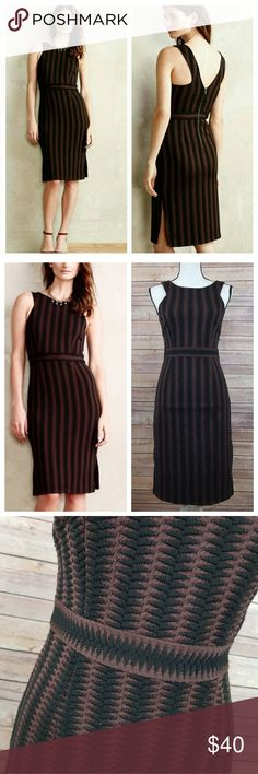 Anthro Maeve S SMALL Meridian Chevron Midi Dress Excellent condition Maeve dress from Anthropologie.  Women's size SMALL.  Beautiful brown and black thick stitch patterning-this dress is beautiful!  From a smoke free home!  Visit my closet @thelilacbush for other great items! Bundle and save! Maeve Dresses Midi