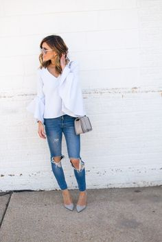 c0fc0ed5e2 Cella Jane Blog by Becky Hillyard: Flare Sleeves Cella Jane, Grey Heels,  Fall