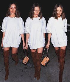 Oversized top over the knee boots