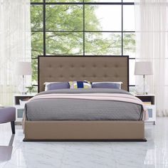 Modway Madeline Faux Leather Upholstered Platform Bed - Queen White - MOD-5498-CAP-WHI
