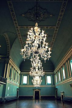 Blue Ballroom with Chandeliers in Bath England