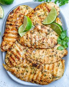 Easy Grilled Cilantro Lime Chicken Recipe | Healthy Fitness Meals Lime Chicken Recipes, Pesto Pasta Recipes, Cilantro Lime Chicken, Healthy Chicken Recipes, Healthy Foods, Diet Recipes, Tilapia Recipes, Diabetic Recipes, Recipes