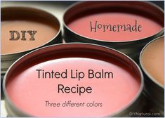 DIY Tinted Lip Balm: Recipes for 3 Different Shades of Lip Balm This recipe for DIY lip balm is very simple. It makes enough to fill three 1 oz lip balm tins. Included is the base recipe and 3 DIY tinted lip balm colors. Homemade Lip Balm, Diy Lip Balm, Tinted Lip Balm, Lip Tint, Lip Balm Tins, Diy Beauty Lip Balm, Bees Wax Lip Balm, Diy Makeup Primer, Belleza Diy