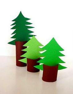 Weihnachtszeit ist Bastelzeit - Tannenbäume aus Toilettenpapierrollen
