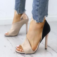 DEleventh New Design Fashion Colorblock Peep Toe High-heeled Pumps Stiletto High Heels Sandals Nude Mixed Colors Woman Shoes Hot Cute Heels, Lace Up Heels, Ankle Strap Heels, Pumps Heels, Stiletto Heels, Heeled Sandals, Ankle Straps, Prom Heels, Wedding Heels