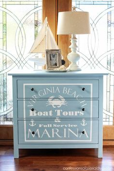 Nautical painted dresser, perfect for a boy's room from confessionsofaser...