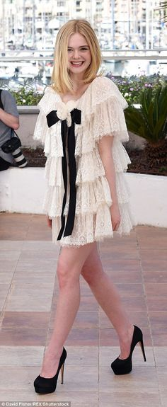 Elle Fanning looks adorable in a Chanel ruffled minidress at Neon Demon photocall in Cannes | Daily Mail Online