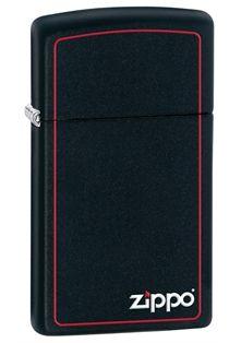Slim® Black Matte Zippo Logo Lighter with red border.