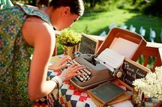Such a cute idea! The typewriter wedding guest book! Set up a guest book table with a vintage typewriter, paper, and a sign that asks guests to 'sign' your guest book by typing a note.