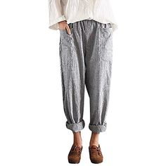 eaea66440a13 Women High Waist Vintage Striped Loose Cotton Linen Long Trousers Harem  Pants     Visit