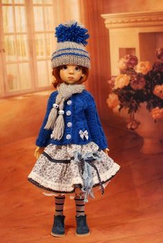"Hand Knit Doll Outfit Set for BJD Doll 18"" Kaye Wiggs #"