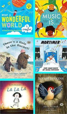 Over 50 of the very best children's books for music class! Kindergarten Music, Preschool Music, Preschool Books, Teaching Music, Book Activities, Music Lessons For Kids, Music For Kids, Music Education, Physical Education