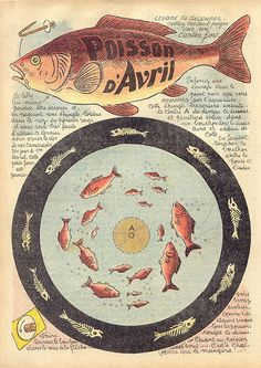 A vintage French April Fool's fishing game. #vintage #April_Fools_Day #fish