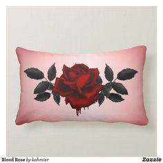 Shop Blood Rose Lumbar Pillow created by kahmier. Gothic Flowers, Red Flowers, Rose Blood, Lumbar Pillow, Throw Pillows, Dark Red Roses, Floral Pillows, Custom Pillows, Knitted Fabric