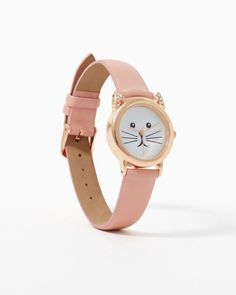 Shop watches now. Kitty cat face watch. Available in pink, white or leopard. Slim faux leather band, rhinestone ears. Whiskers on dial.