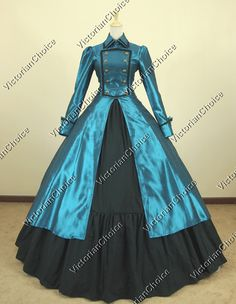 Gothic Victorian Satin Cotton Coat Dress Ball Gown Cosplay Reenactment Clothing