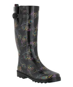 Take a look at this Black Peacock Rain Boots by Capelli New York on #zulily today!