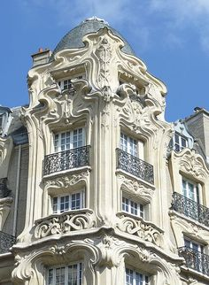Art Nouveau facade on a building in Paris France. x - Architecture and Urban Living - Modern and Historical Buildings - City Planning - Travel Photography Destinations - Amazing Beautiful Places Architecture Art Nouveau, Classical Architecture, Beautiful Architecture, Beautiful Buildings, Art And Architecture, Architecture Details, Windows Architecture, Parisian Architecture, Unusual Buildings
