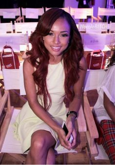 Chris Browns girlfriend Karrueche Tran at Shateria's Front Row Spring 2014 show