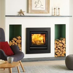 Stovax Riva 50 Inset Multifuel / Woodburning Stove - Multi Fuel Inset Stoves - All Stoves - Stoves Are Us Inset Stoves, Contemporary Fireplace Designs, Wood Burner Fireplace, Log Burner Living Room, New Living Room, Fireplace Surrounds, Fireplace, Wood Burning Fireplace Inserts