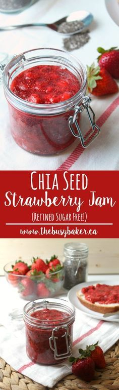 It's strawberry season!! Homemade Chia Seed Strawberry Jam recipe from thebusybaker.ca!