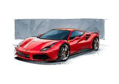 The Ferrari 488GTB's supremely sporty character is the end result of a lengthy design process. This is one of the very first sketches from the early stages! #cars