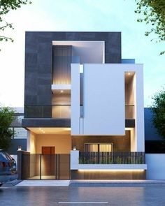 Duplex House Design, Small House Design, Cool House Designs, Modern Exterior House Designs, Modern House Design, House Construction Plan, Partition Design, Interior Minimalista, House Elevation