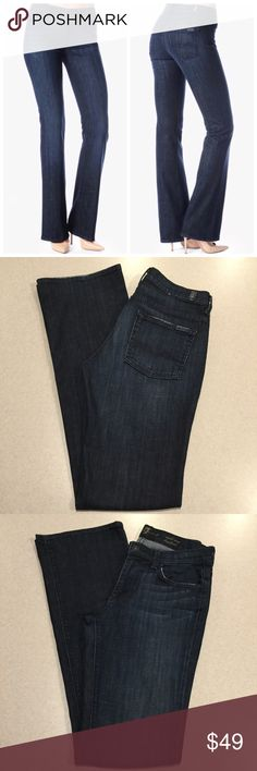 7 For All Mankind Jeans 28X34.5 Mid Rise Boot LADK 7 For All Mankind Jeans Mid rise Bootcut Los Angeles dark wash (my absolute favorite wash!) Size 28 34.5 inch long unaltered inseam Vibrant blue heather stretch denim Super flattering slimming fit Perfect preowned condition! No flaws! Retails for $198.00   All of my items come from a smoke free, pet free home and are authenticity guaranteed! No returns for fit issues. 10 1/28 7 For All Mankind Jeans Boot Cut