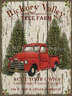 primitive farmhouse christmas red truck tree farm label jpeg christmas car country christmas trees