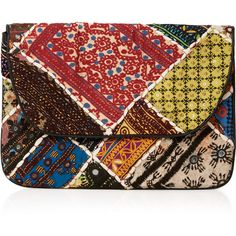 TOPSHOP Patchwork Clutch Bag ($70) ❤ liked on Polyvore featuring bags, handbags, clutches, accessories, multi, red purse, red clutches, embroidered purse, embroidered handbags and mirror handbags