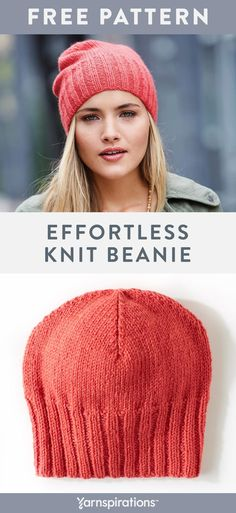 02dfba0e32820 This classic knit beanie pattern works up beautifully with Patons Classic  Wool Worsted yarn.