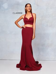 3773- Wine two-piece double jersey dress with a halter neck Black Prom  Dresses ea436f129