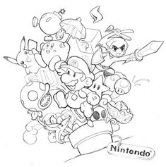 Nintendo collage by yujai on DeviantArt Collage Drawing, Doodle Art Drawing, Graffiti Drawing, Drawing Sketches, Collage Art, Collage Tattoo, Nintendo Tattoo, Graffiti Doodles, Graffiti Cartoons