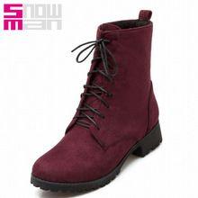 5 Colors gran tamaño 33-47 cruzado de moda las botas Martin botas otoño invierno zapatos de mujer 2015 marca tacones cuadrados botas cortas(China (Mainland))