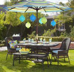 déco de terrasse avec lanternes en papier en bleu et vert et parasol à rayures