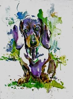 Purple Doxie painting