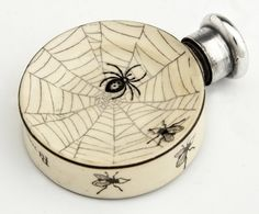 Unusual English Victorian Sterling Top Ceramic Perfume Bottle, London 1887