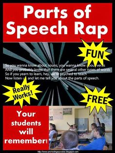 In this elementary teacher blog post, you will find activities and ideas for teaching kids the parts of speech (nouns, verbs, adjectives, adverbs, pronouns). You will find a rap song, interactive notebook craft activities (craftivities) and free printable task cards for your literacy centers or stations as a review, test prep, formative assessment or extra practice for 1st, 2nd, 3rd grade or students with special education needs.