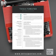 @allcupation Creative Resume Template, Modern CV Template, Word, Cover Letter, References, Instant Download, Mac, PC, TANIA | Allcupation.com | We Help You Create Powerful Resume and Win The Interview | #resume #template #resumetemplate